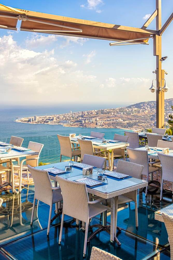 Amar Restaurant with Shisha and Seascape Terrace in Harissa Chicha Hookah Cachimba Kalyan Arguile Nargile